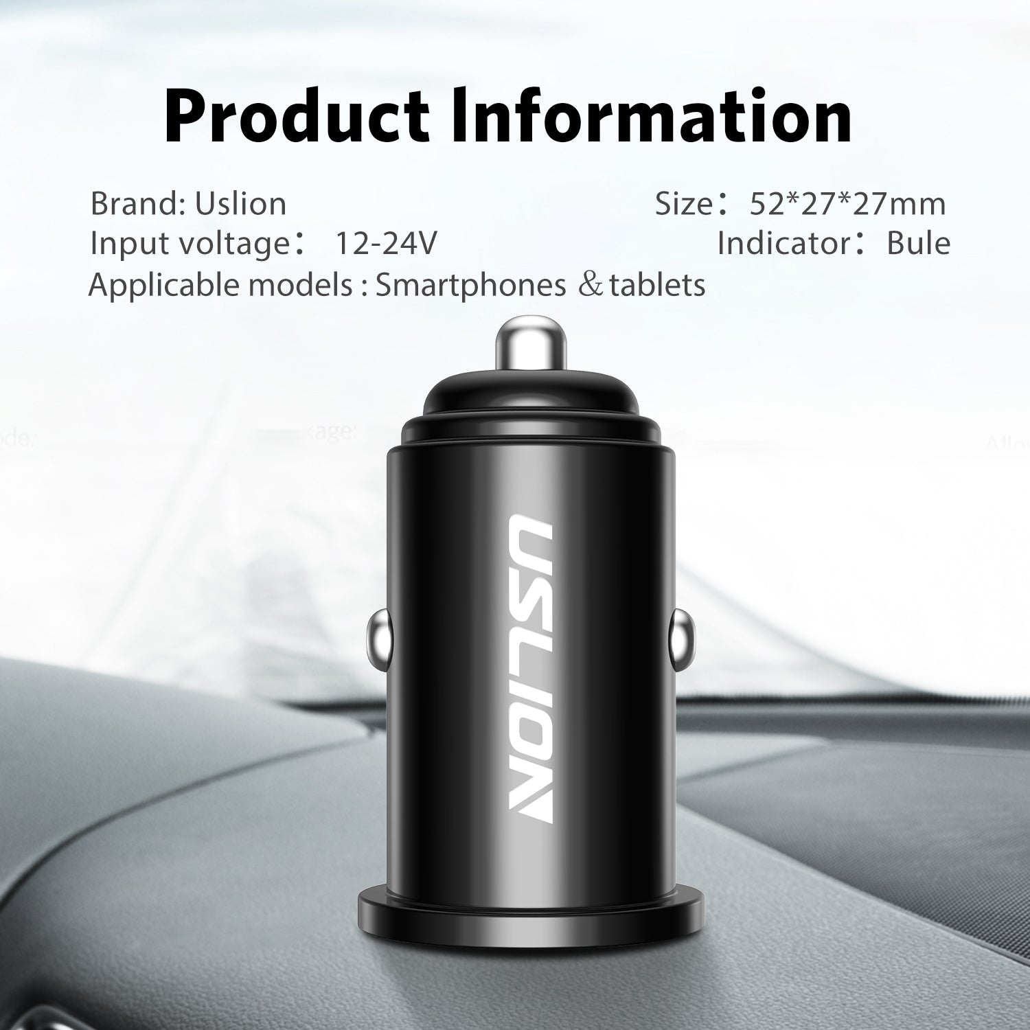USLION Car USB Charger Quick Charge 3.0 2.4A Mobile Phone USB Charger Fast Charging