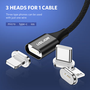 USLION Magnetic Cable Micro usb Type C for iPhone 7 6s Fast Charging Microusb