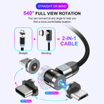 USLION 540° rotation USB Magnetic Cable with LED light 3ft 6ft