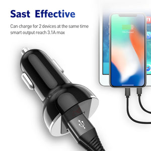 USLION Car USB Charger Fast Charge 3.1A Mobile Phone Charger Dual USB