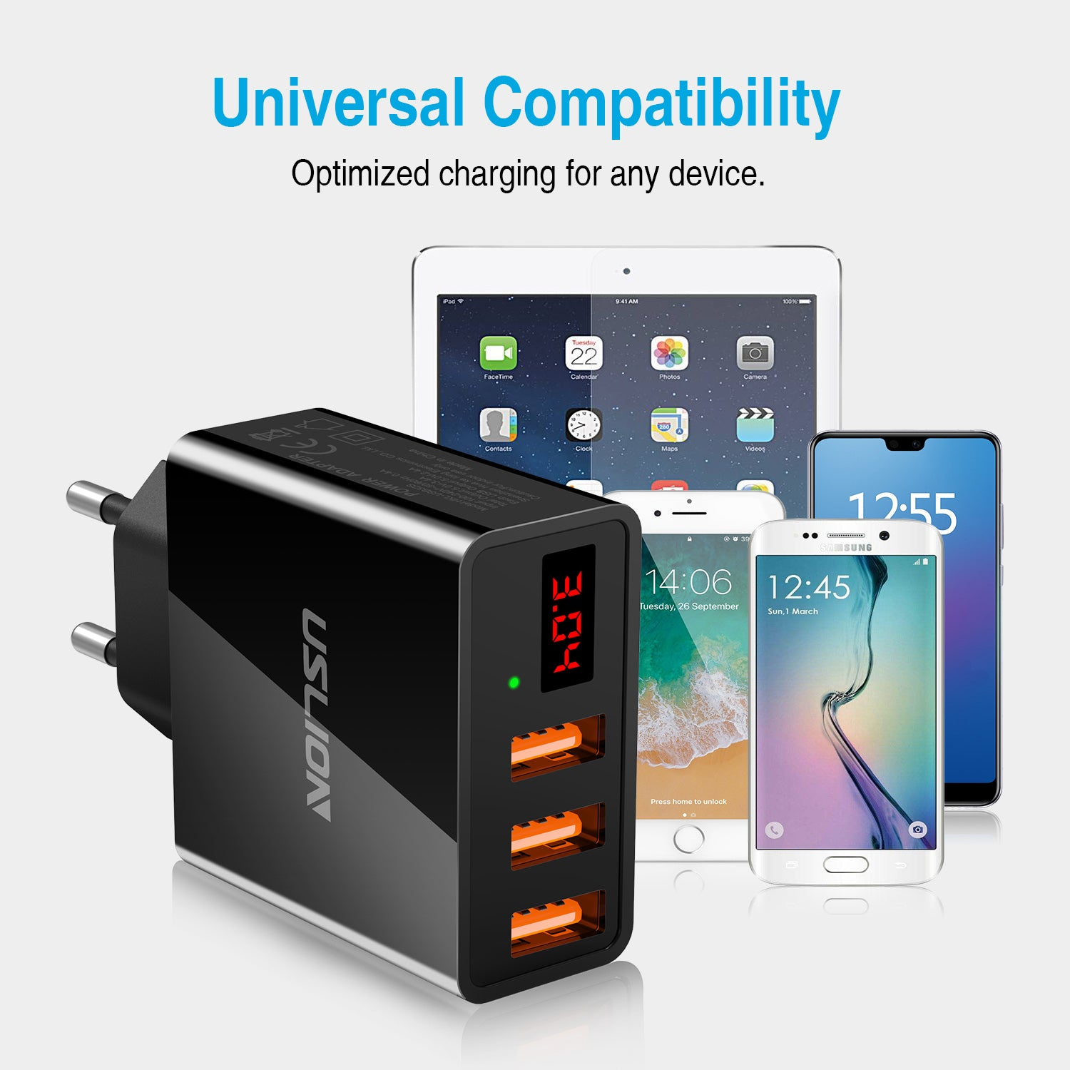 USLION ED Display EU 3 USB Charger Universal Mobile Phone USB Charger