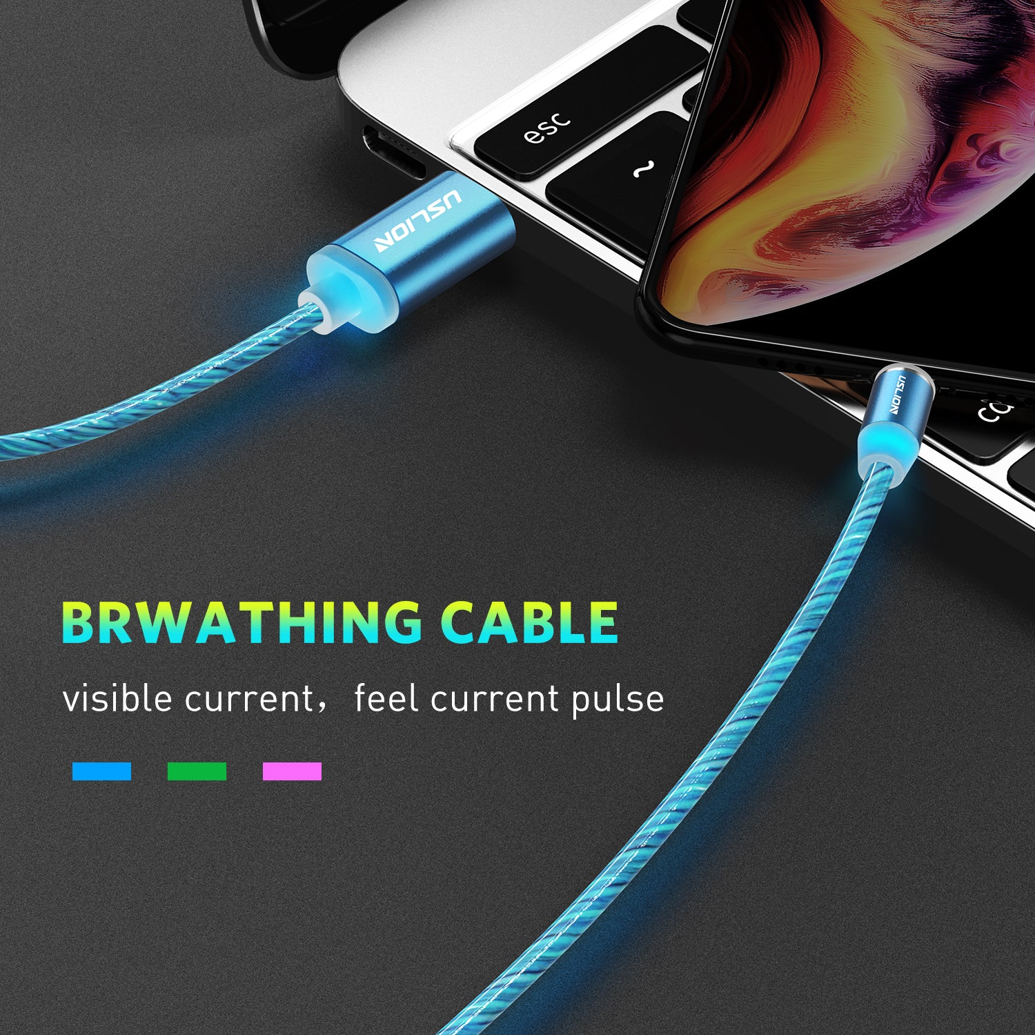 Uslion LED Magnetic Cable 3 in 1 USB Charging Cables Light