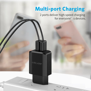 USLION Dual Port Wall Charger Travel Adapter