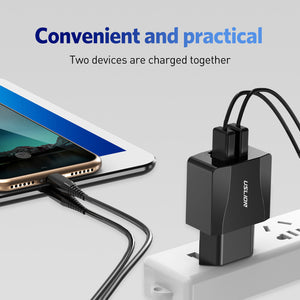 USLION Dual USB Charger Mobile Phone EU Charger Plug Adapter Wall charger cable