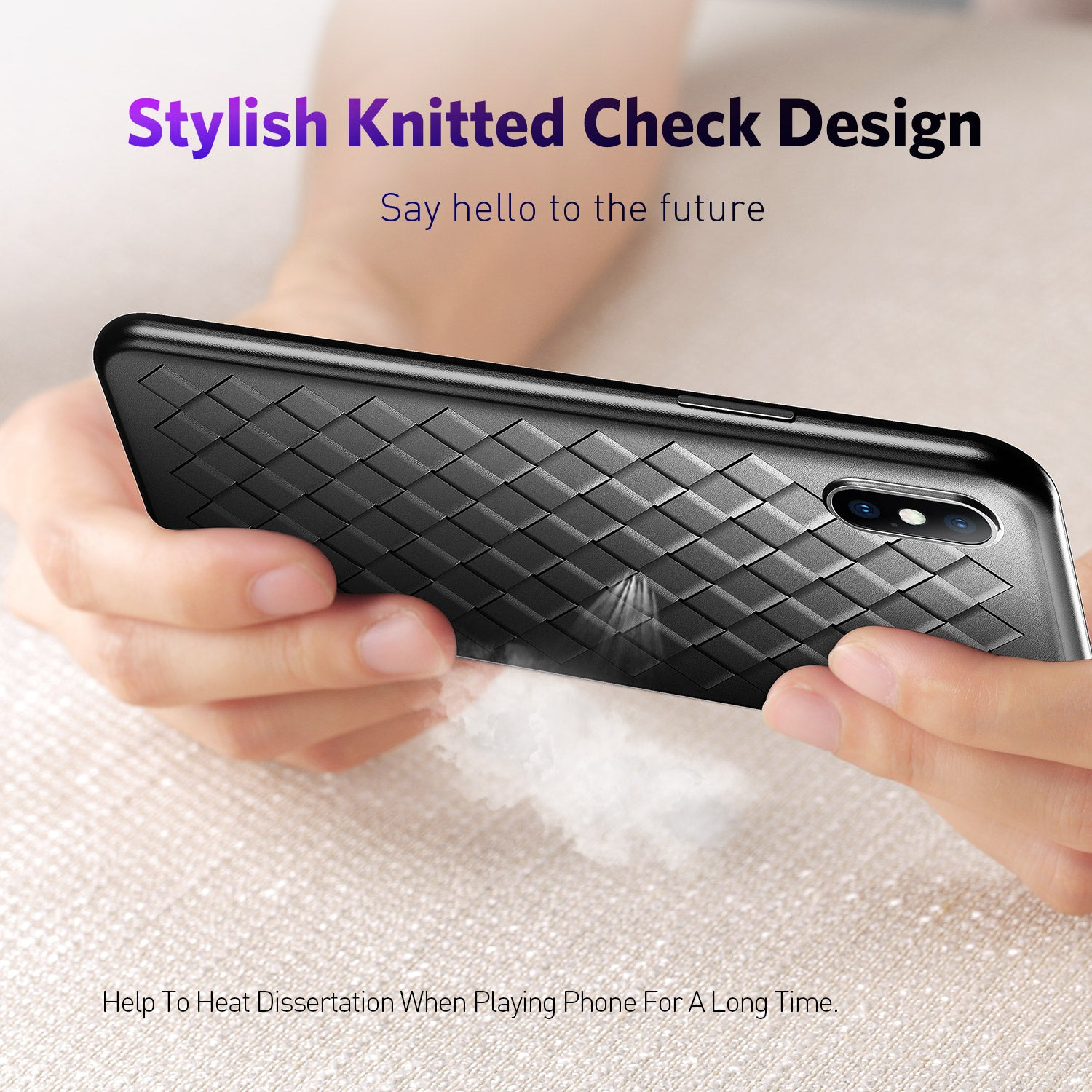 Uslion Soft Silicone Leather Weaving Case For iPhone X