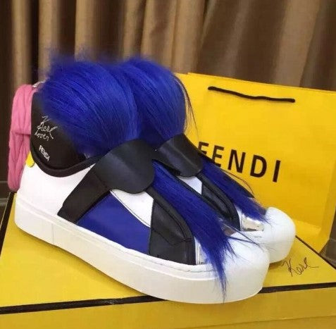 Fendi Karlito High-top Sneakers With Royal Blue Fur 2 colors