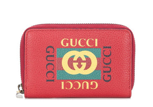 Gucci Print Leather Card Case Wallet Red