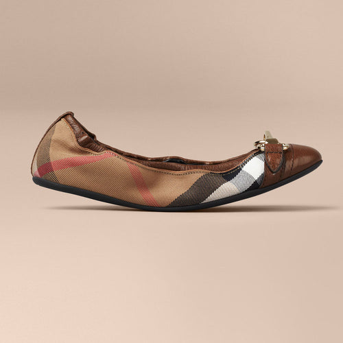 Burberry Buckle Detail House Check Ballerinas Dark