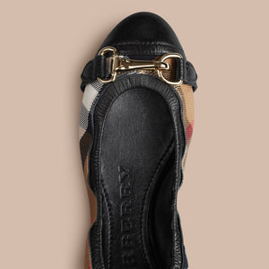 Burberry Buckle Detail House Check Ballerinas Black