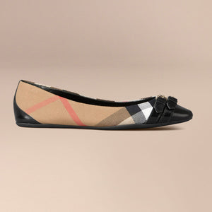 Burberry Bridle House Check Ballerinas Black