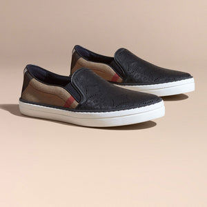 Burberry Laser-cut Lace Leather and Check Slip-on Trainers