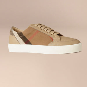Burberry House Check And Leather Sneakers Check nude