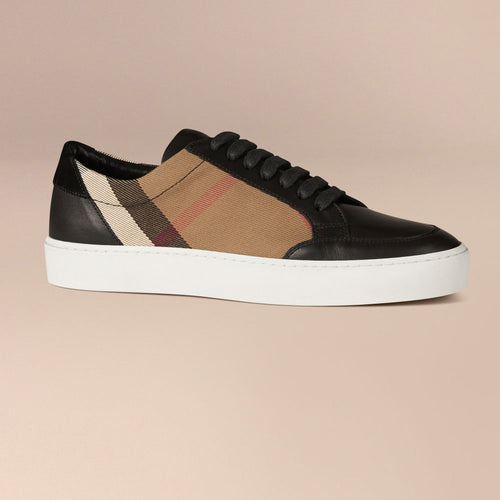 Burberry House Check And Leather Sneakers Check black