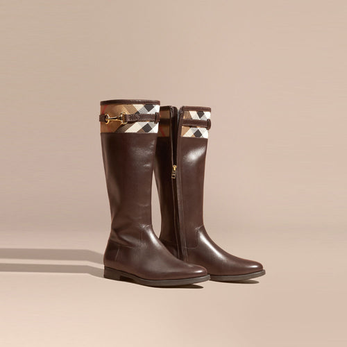 Burberry House Check Detail Leather Riding Boots