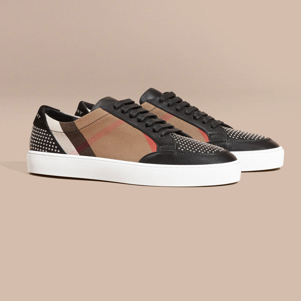 Burberry House Check and Studded Leather Sneakers