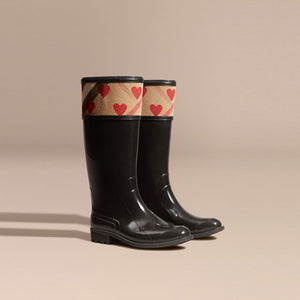 Burberry Heart and House Check Rain Boots