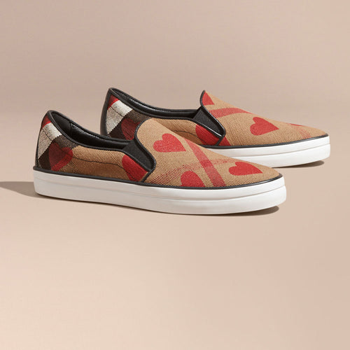Burberry Check Heart Print Slip-on Trainers Check parade Red