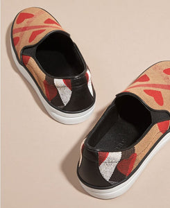 Burberry Check Heart Print Slip-on Trainers Check parade Red - hn4us