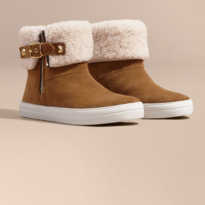 Burberry Shearling-lined Suede Ankle Boots Oak Brown