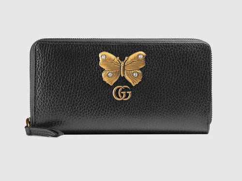 Gucci Leather Zip Around Wallet With Butterfly 2 colors