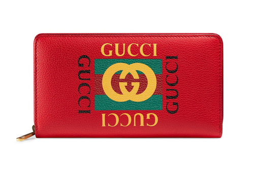 Gucci Print Leather Zip Around Wallet Red