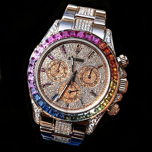 Rolex Rainbow Daytona Rose Gold - Full Diamond