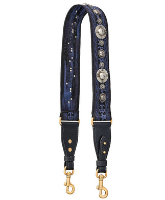 Christian Dior Bohemian-inspired Shoulder Strap In Canvas Blue - hn4us