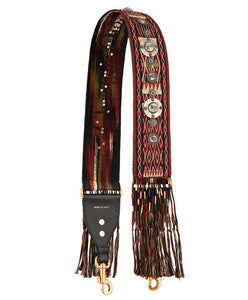 Christian Dior Fringed Shoulder Strap In Multi-coloured Canvas Adorned Red - hn4us