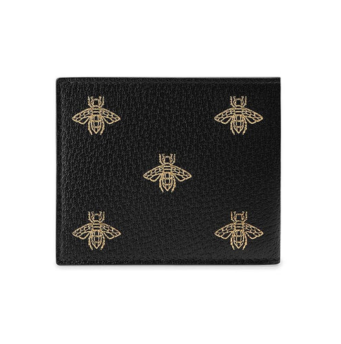 Gucci Bee Star Leather Bi-Fold Wallet