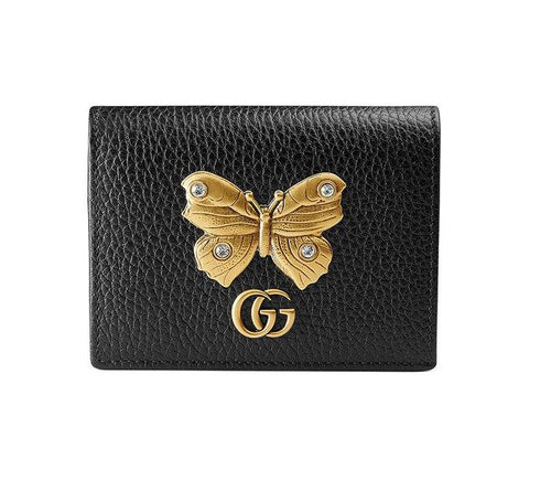 Gucci Leather Card Case With Butterfly Wallet 2 colors