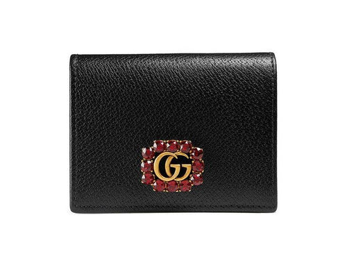Gucci Leather Card Case with Double G and Crystals 2 colors