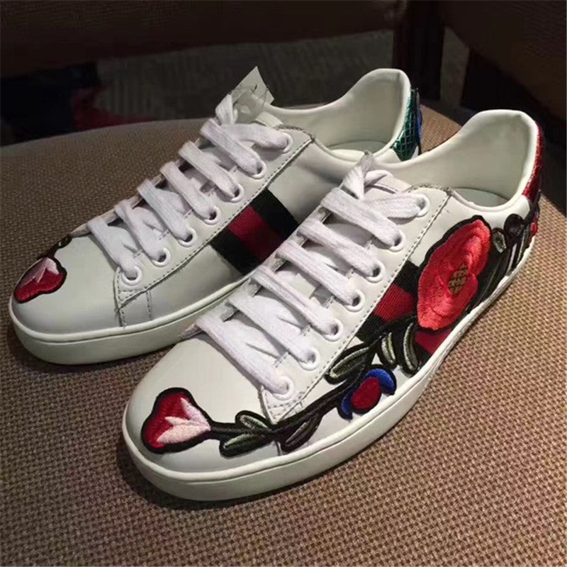 dde41c4dee1 ... Gucci Ace Embroidered Low-Top Sneakers 10 Designs Calfskin Leather  White - hn4us ...