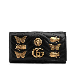 Gucci GG Marmont Metal Animal Insects Studs Continental Wallet 2 colors