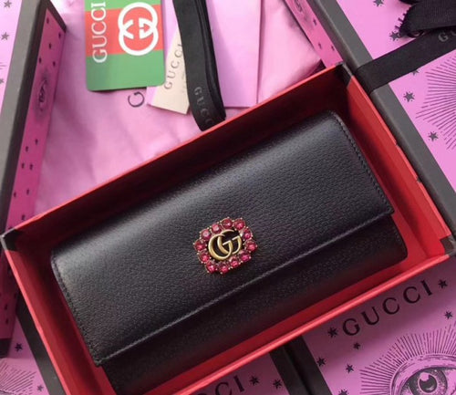 Gucci Leather Continental Wallet 2 colors With Double G and Crystals 2018