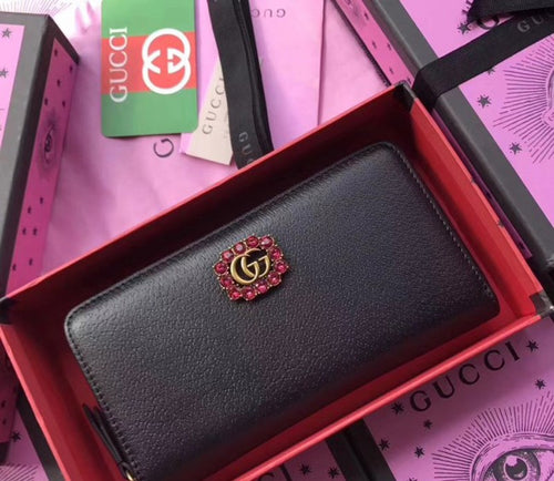 Gucci 2 colors Leather Zip Around Wallet With Double G and Crystals 2018