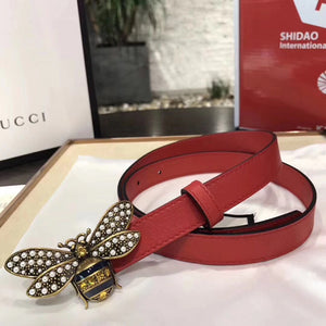 Gucci Queen Margaret Belt 3 colors with Pearls and Red Crystals 20MM Antique Gold Hardware Calfskin Leather Spring Summer 2018 Collection