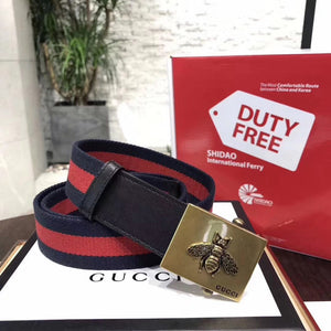 Gucci Web Belt 2 colors with Bee Buckle 37MM Antique Brass Hardware Calfskin Leather Spring Summer 2018 Collection