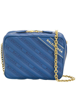 Balenciaga Blanket Reporter Xs Leather Crossbody Blue