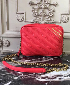 Balenciaga Blanket Reporter Xs Leather Crossbody Red