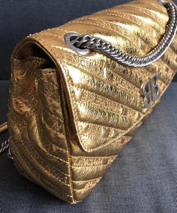 Balenciaga BB Round Embroidered Metallic Textured-leather Shoulder Bag Gold