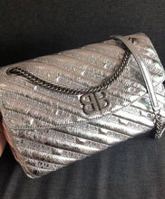 Balenciaga BB Round Embroidered Metallic Textured-leather Shoulder Bag Silver