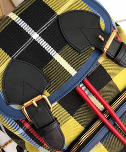 Burberry The Small Rucksack In Check Cotton And Leather Yellow