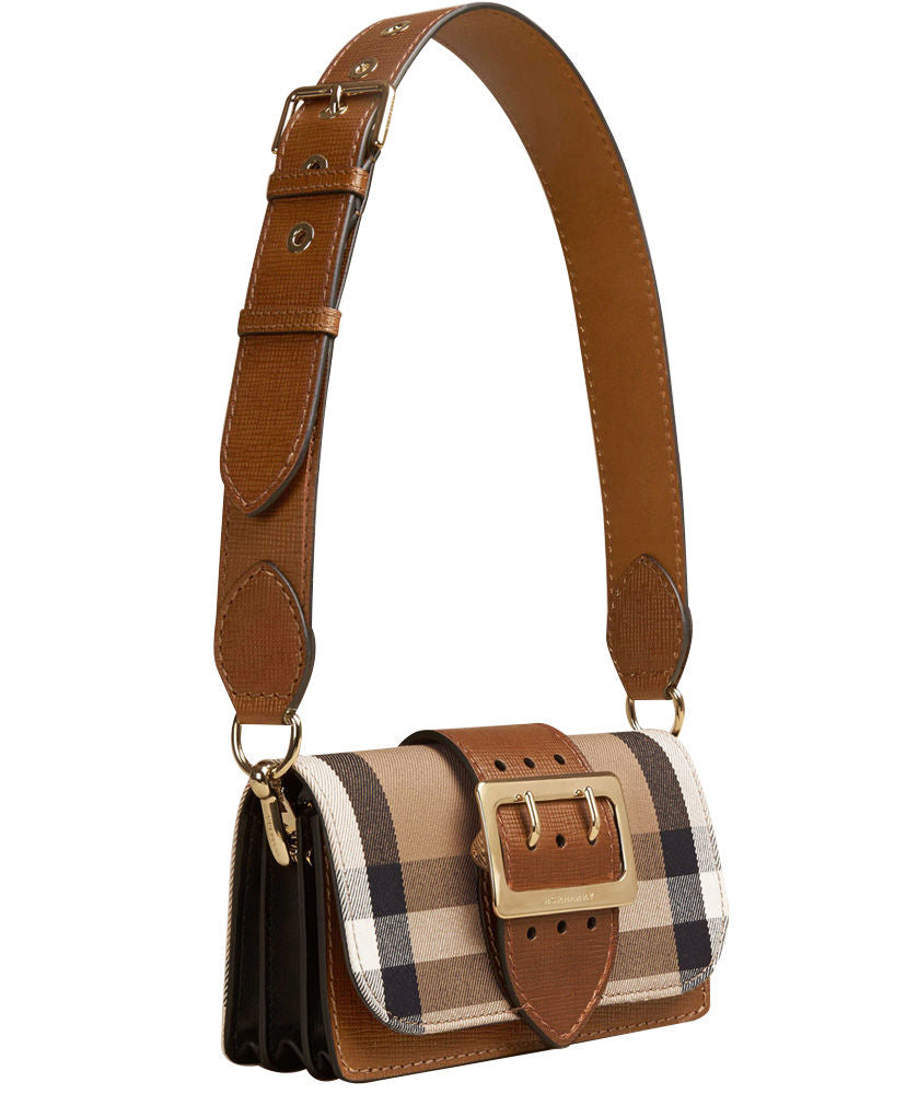 b9211d8a9c6 Burberry The Small Buckle Bag in House Check and Leather Light Coffee -  hn4us ...