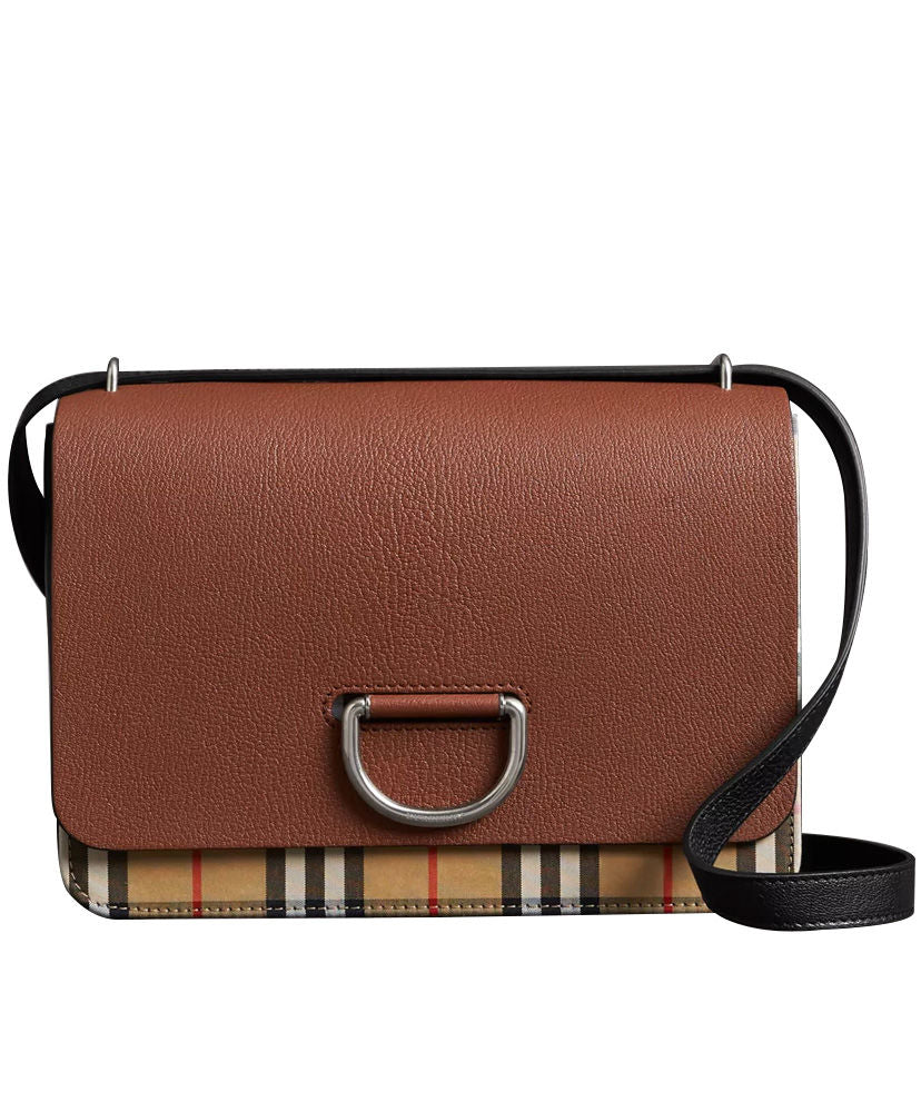 Burberry Medium Vintage Check and Leather D-ring Bag Coffee