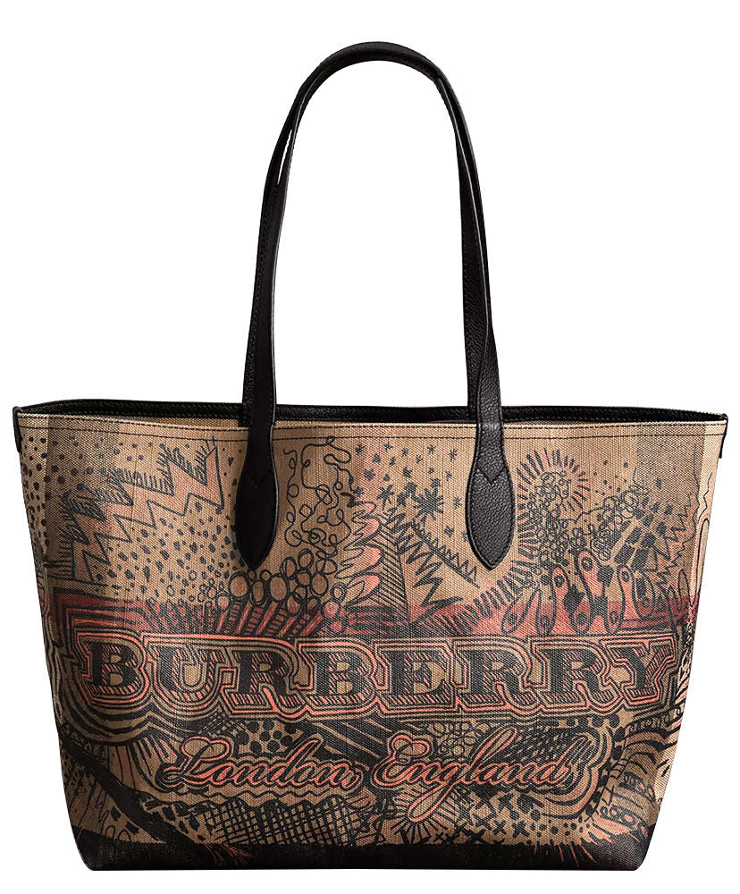 Burberry The Medium Reversible Doodle Tote Coffee