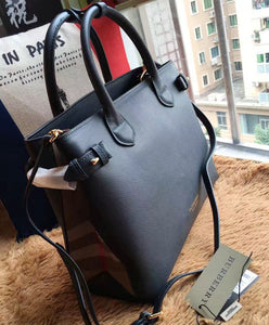 Burberry Medium Banner House Check Leather Tote 5 colors