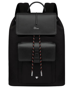 Dior Black Calfskin And Black Nylon Rucksack With Red Details