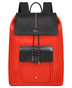 Dior Black Calfskin And Red Nylon Rucksack With Black And Red Details