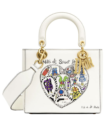 Christian Dior Supple Lady Dior bag in off-white calfskin 2 Size
