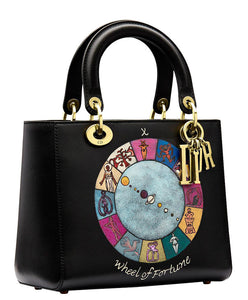 "Christian Dior Lady Dior ""Wheel of Fortune"" Handpainted Motherpeace Tarot Handbag Black"